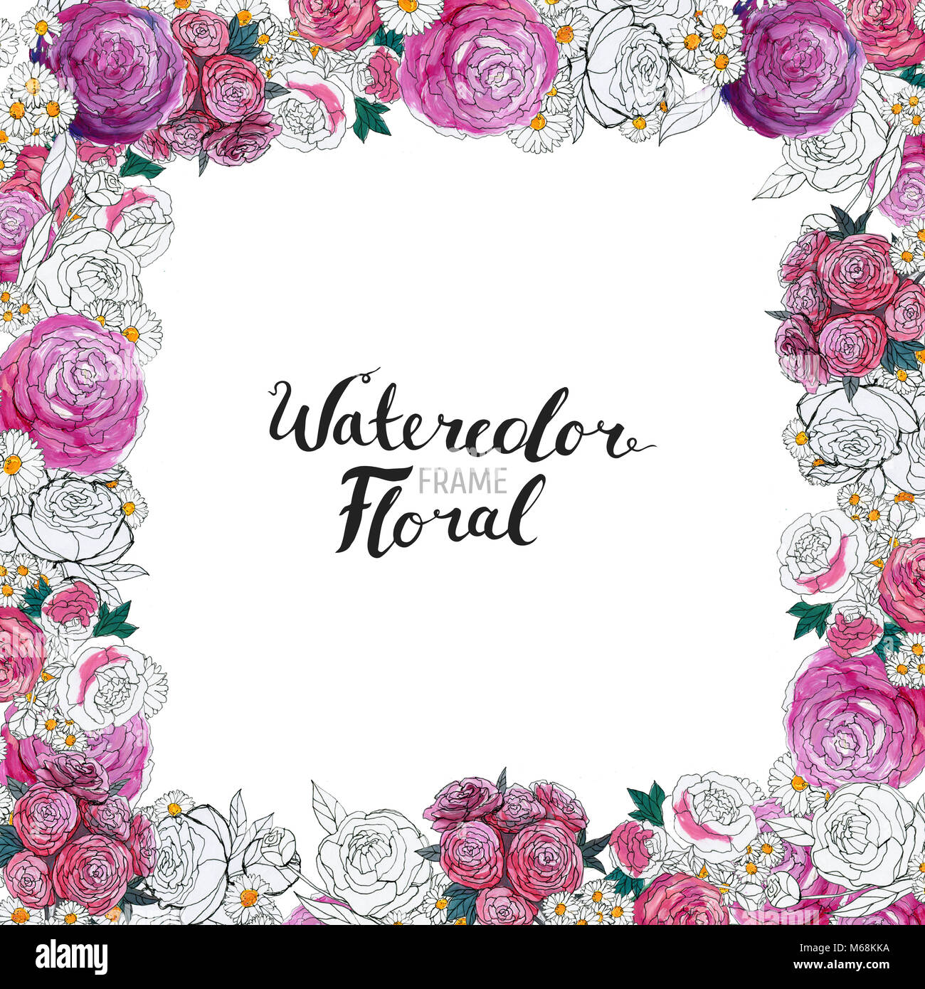 Watercolor floral background hand painted border of flowers good watercolor floral background hand painted border of flowers good for invitations and greeting cards frame of roses isolated on white and brush lett m4hsunfo