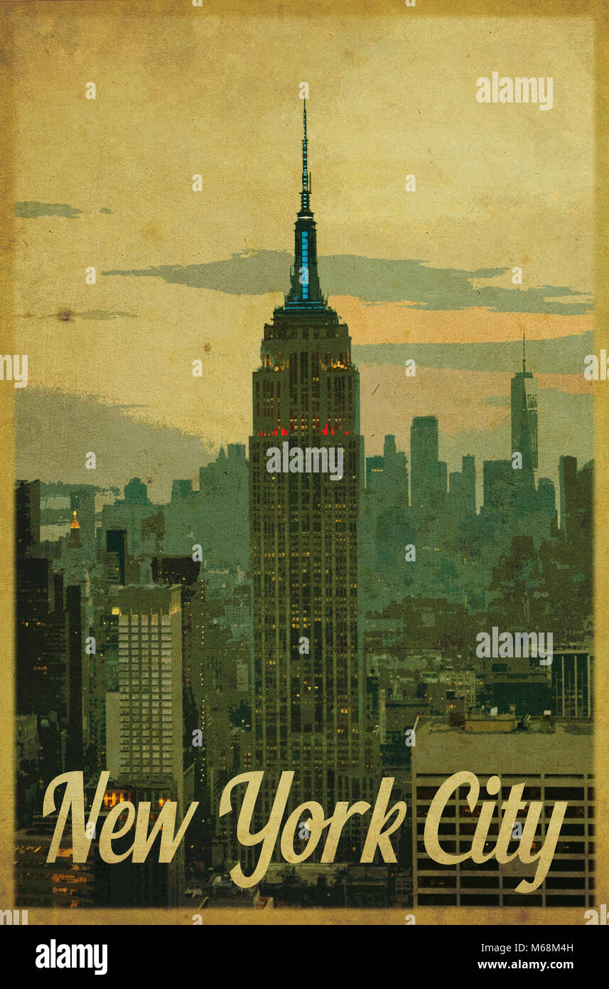 5597f9f2dd1 Vintage style New York poster Stock Photo  175983041 - Alamy
