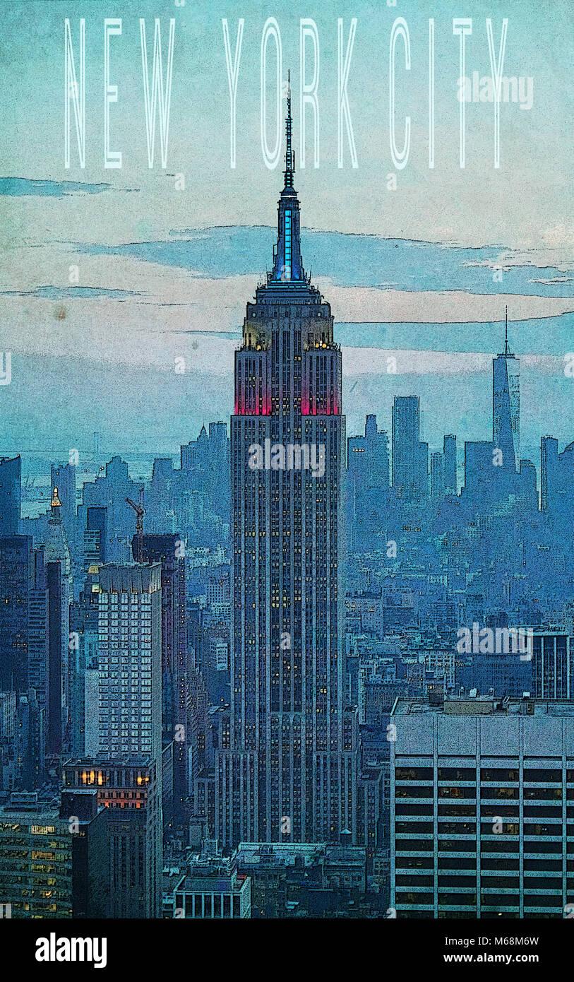Art Deco Poster New York.New York Art Deco Poster Stock Photos New York Art Deco Poster