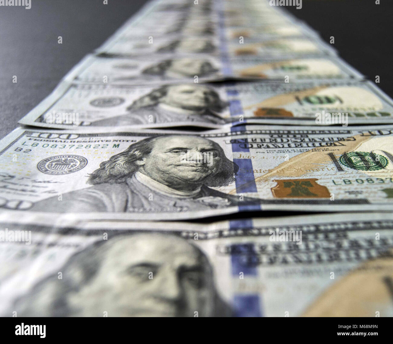 stock exchange financial institutions and the hundred dollar, everywhere in the world are valid 100 USA dollars, Stock Photo