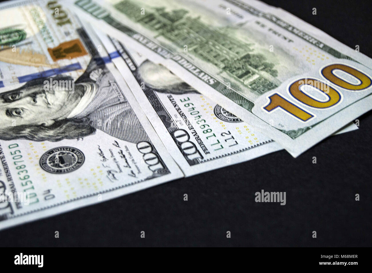 stock exchange financial institutions and the hundred dollar, everywhere in the world are valid 100 USA dollars, - Stock Image