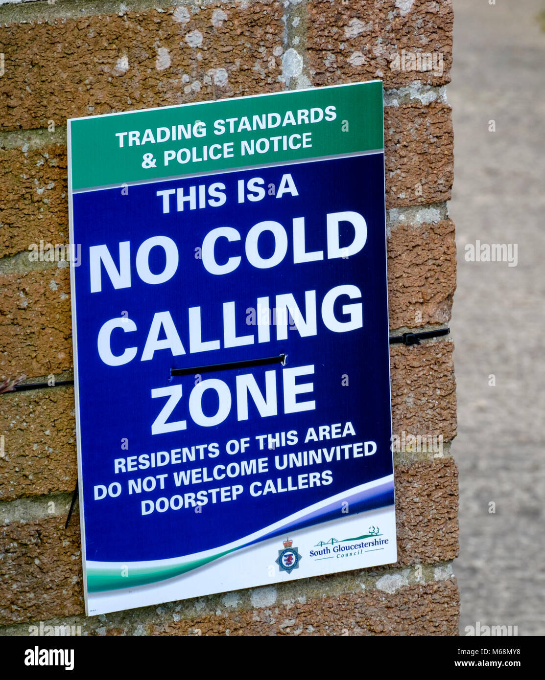 A No Cold Calling Sign from south Glos trading standards. - Stock Image