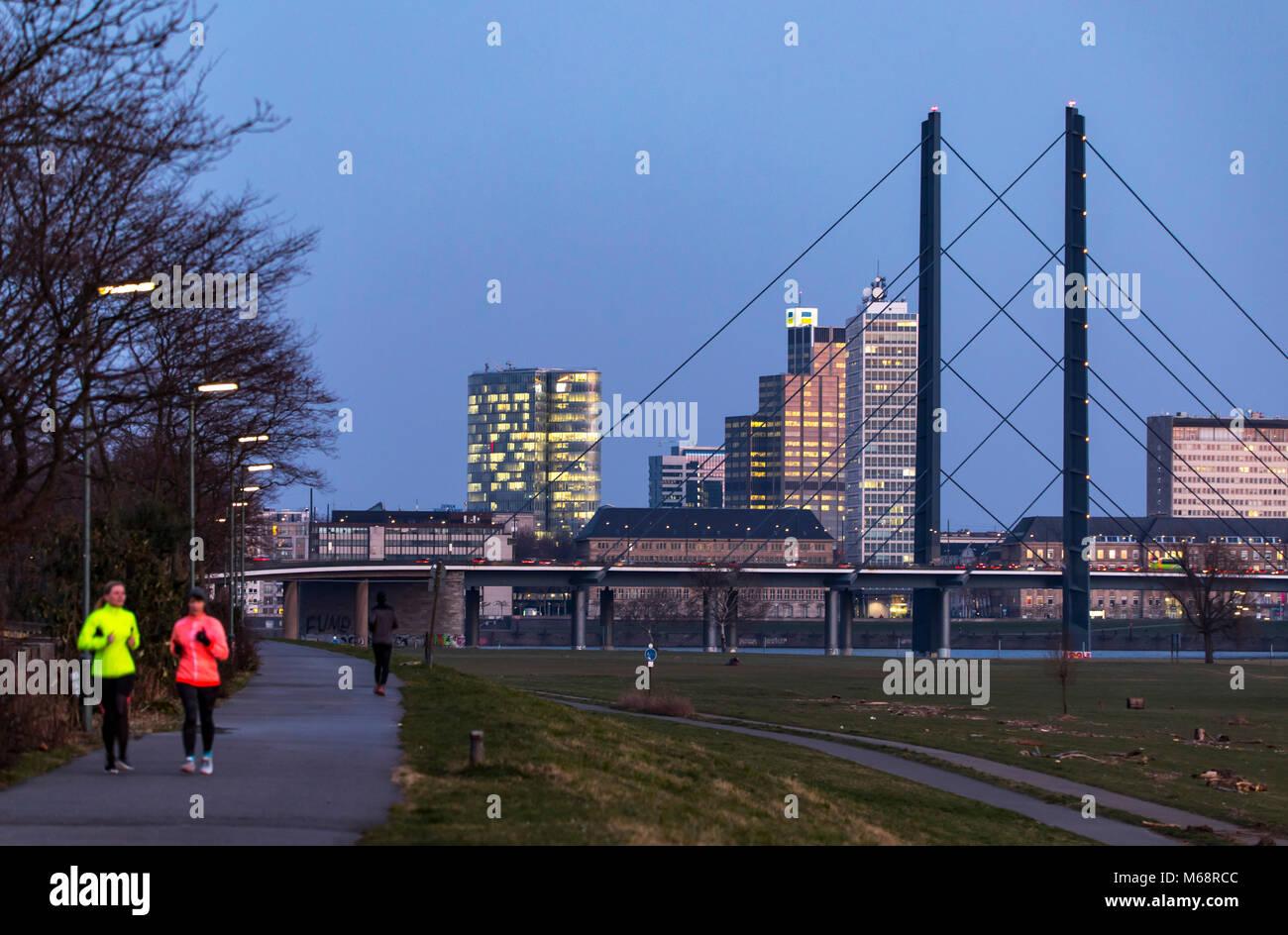 Dusseldorf, Germany, downtown skyline, skyscrapers, Rheinkniebrücke River bridge, River Rhine, - Stock Image