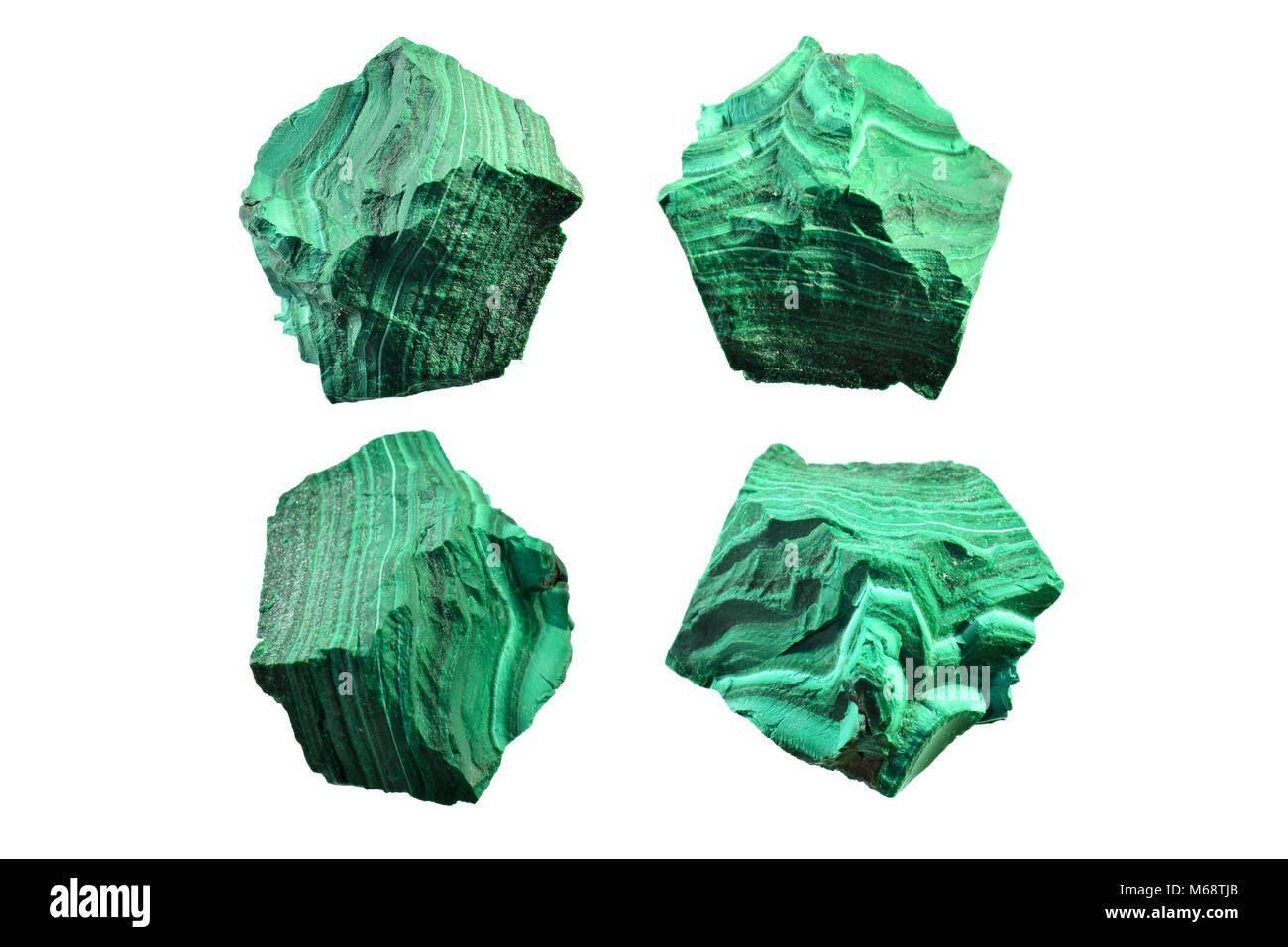 Closeup detail of Malachite, green mineral stone isolated on white background. - Stock Image