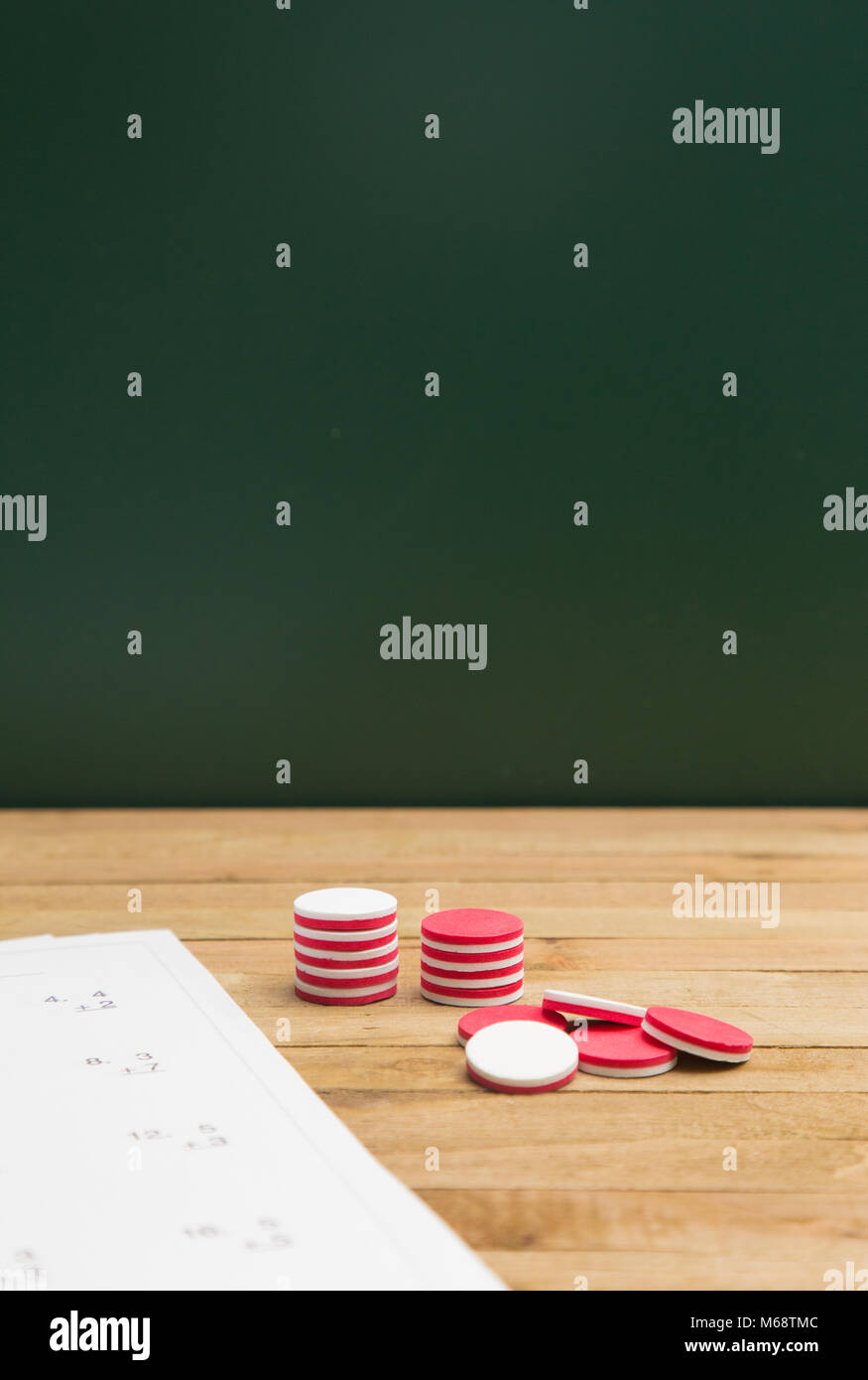 Simple Math Worksheet on a Wooden Table Stock Photo: 175986620 - Alamy