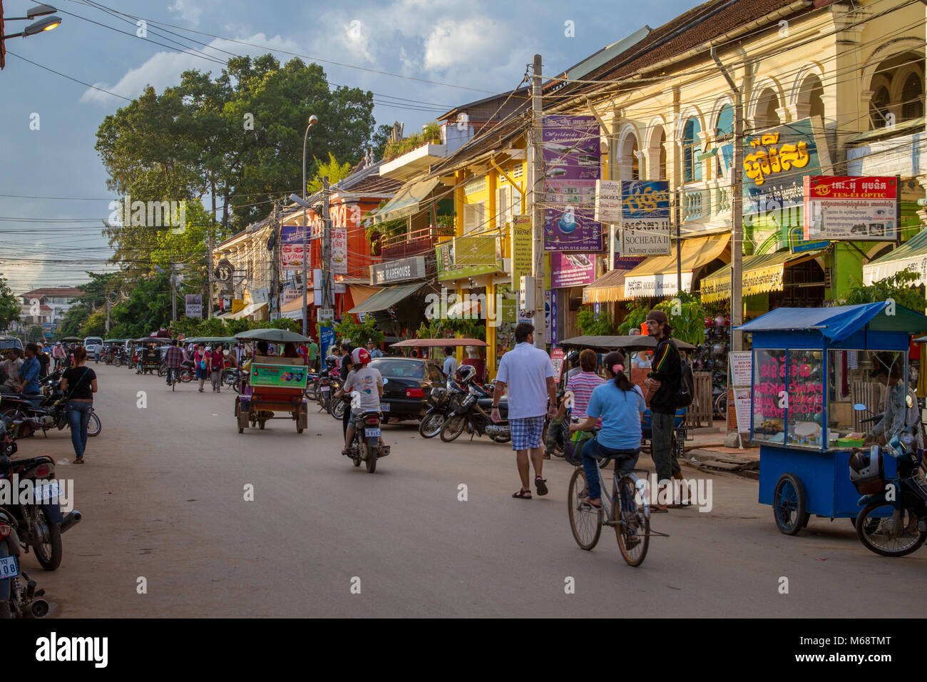 Siem Reap, Cambodia in the evening. Popular base for exploring famed UN World Heritage Site Angkor Wat. - Stock Image