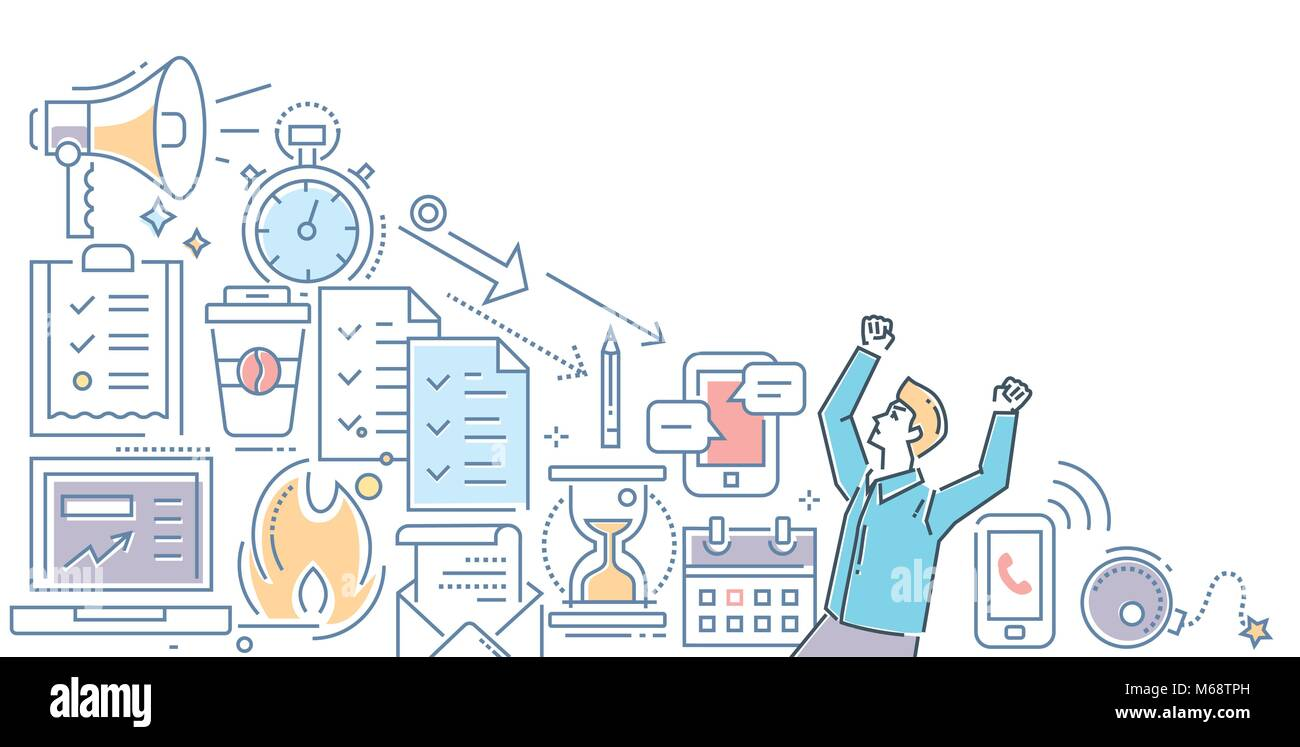 Stress at work - modern line design style illustration - Stock Image