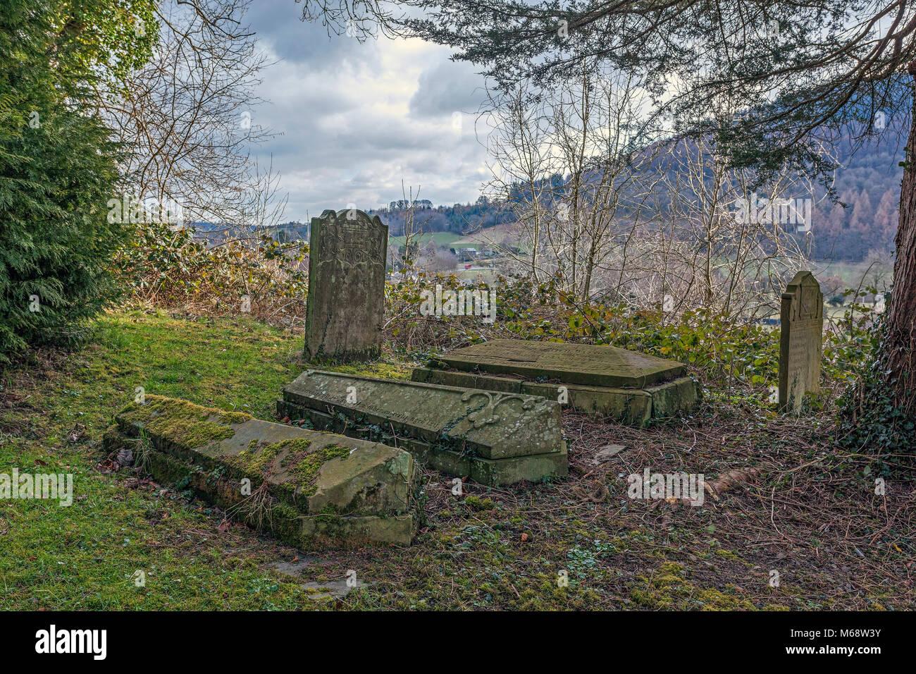 Tombstones in New Radnor churchard - Stock Image