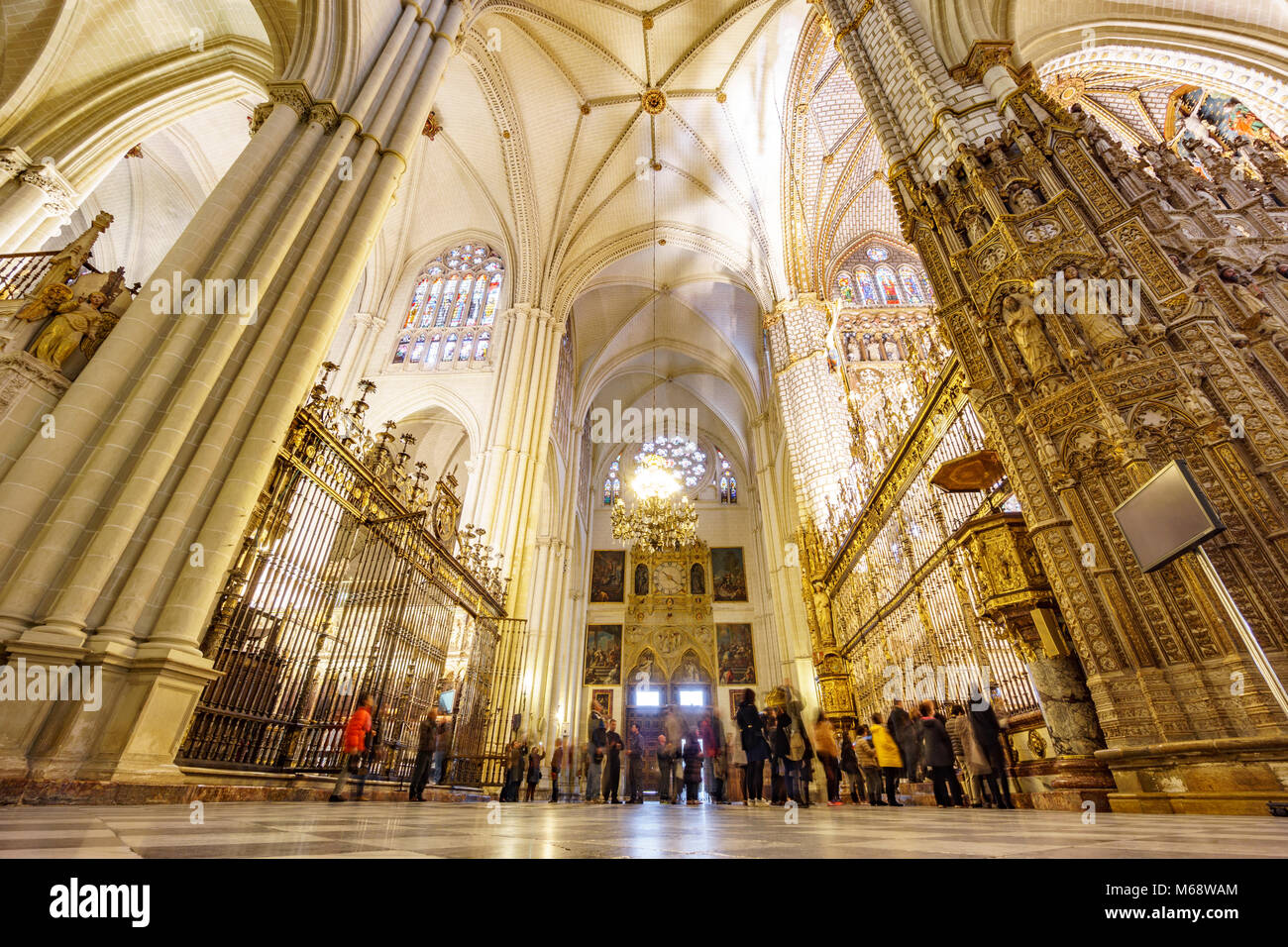 TOLEDO - MARCH 17: Unidentified huge group of tourist taking photos to Toledo cathedral on March 17 2015 Toledo, - Stock Image