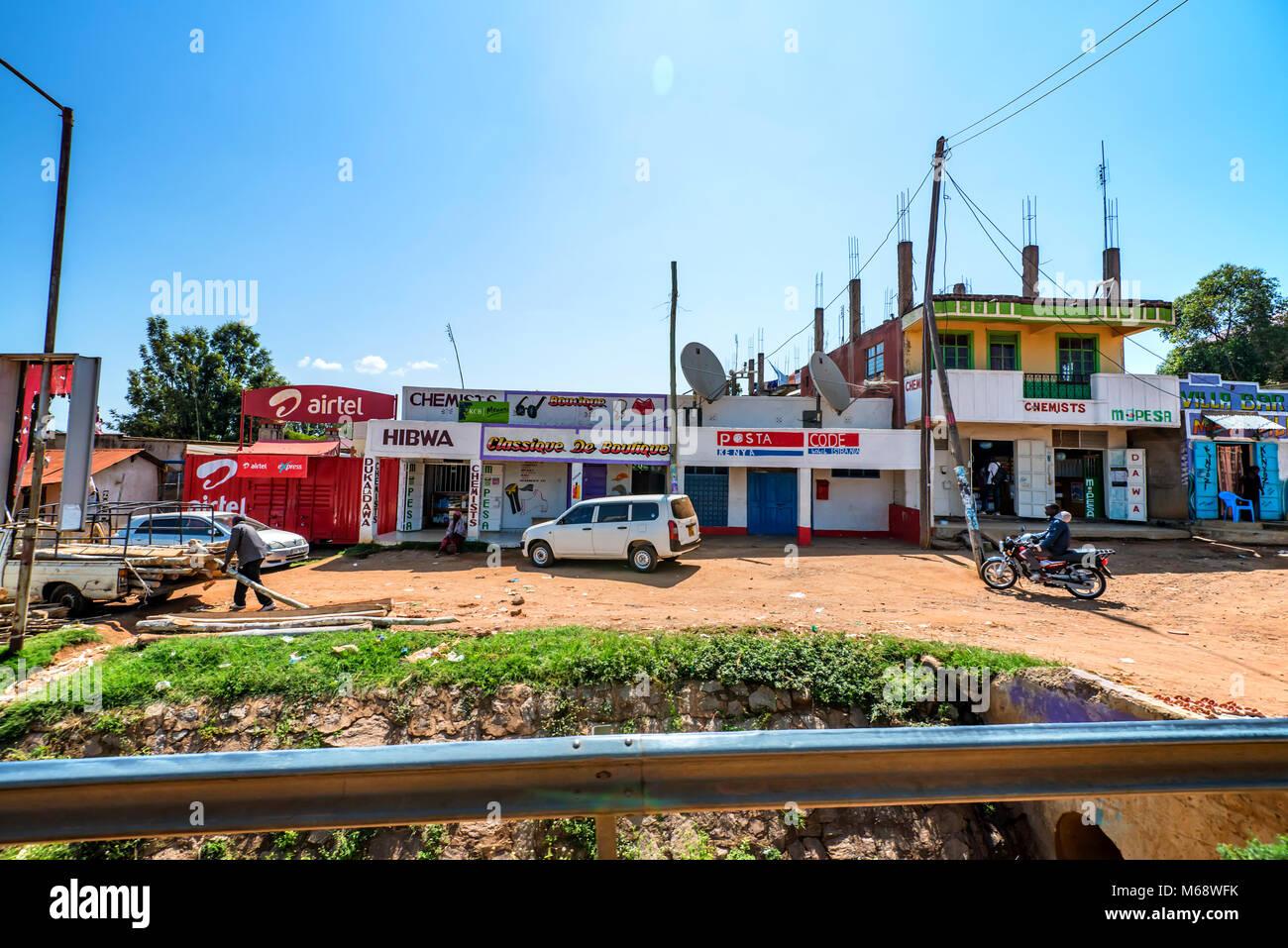 ISEBANIA, KENYA -JANUARY 3, 2015: View of Isebania street Stock Photo