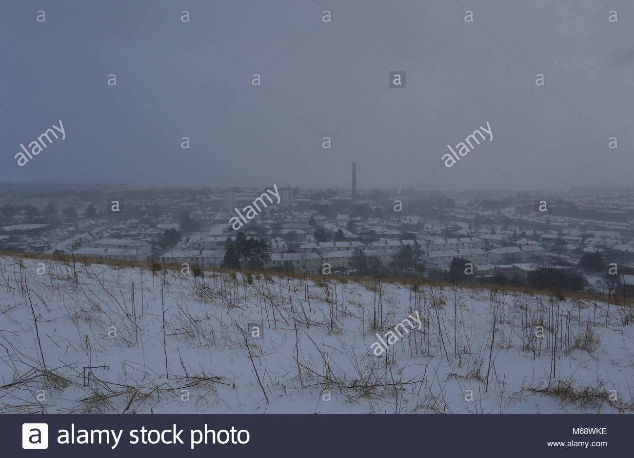 Elevated view of Lochee in winter Dundee Scotland  March 2018 - Stock Image