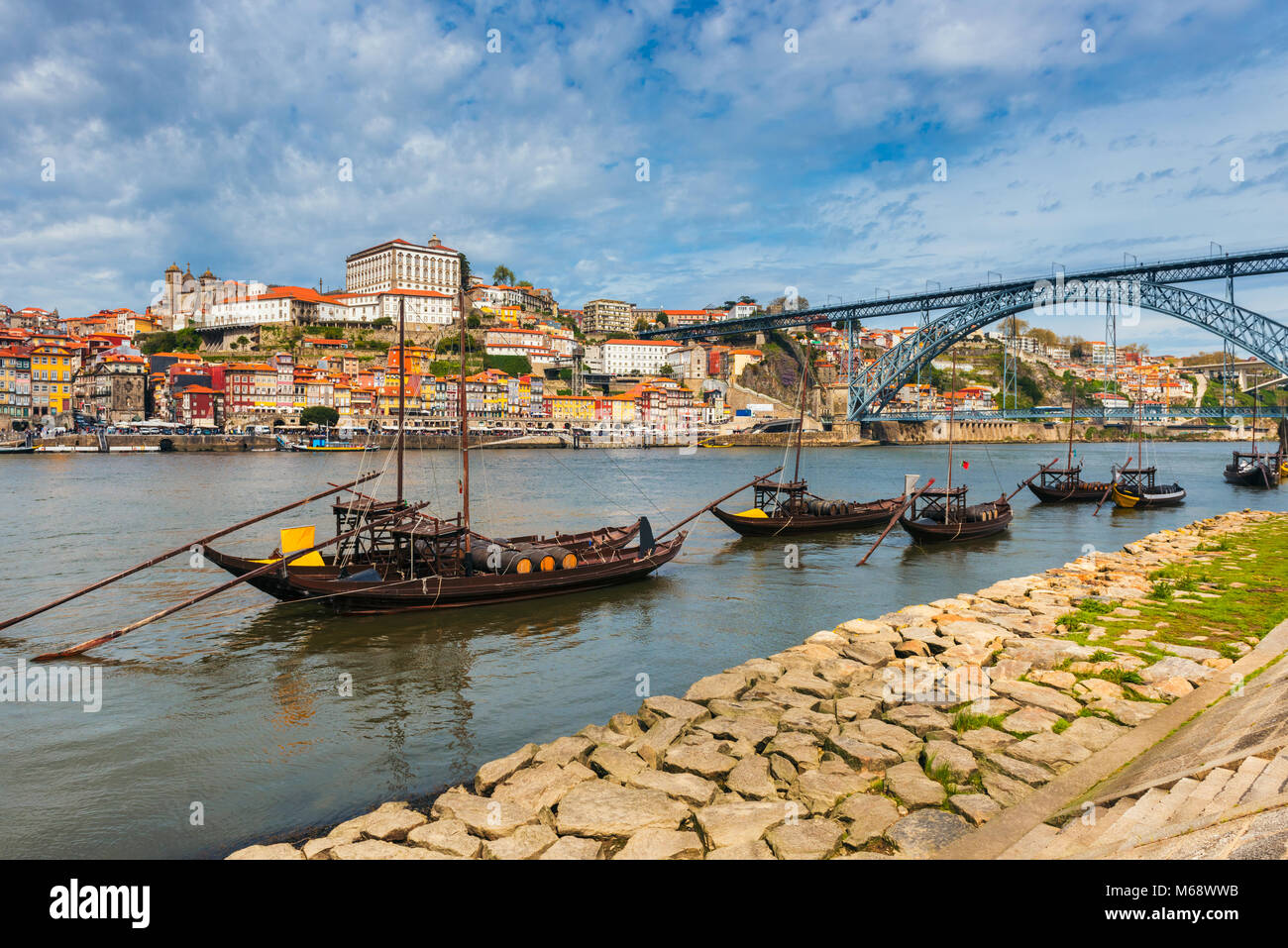 Rabelo Boats on the Douro River in Porto Portugal. Stock Photo