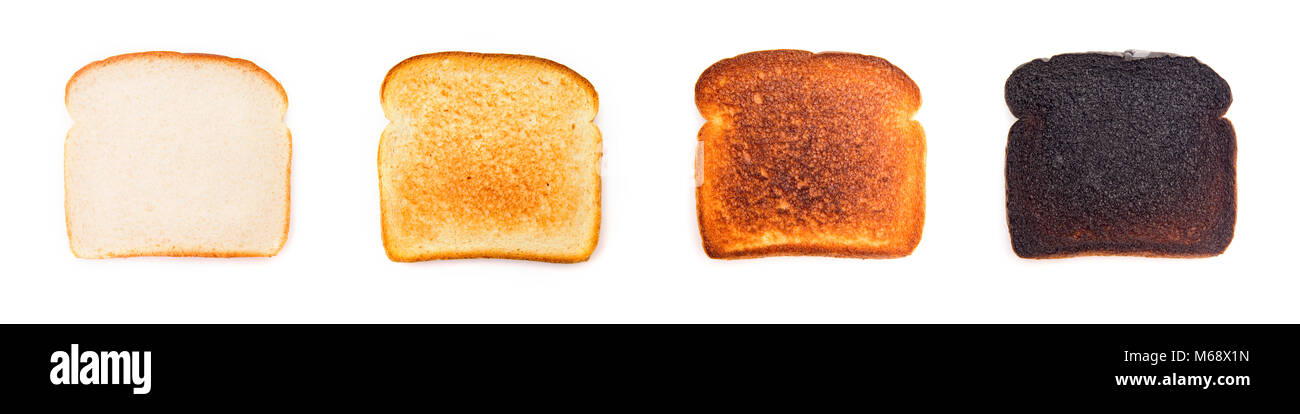 A Collage of Different Levels of Darkness when it comes to Toast - What's your preference? - Stock Image