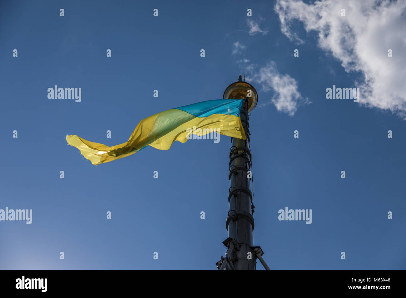 Flag of Ukraine against the background of the blue sky on a sunny day Stock Photo