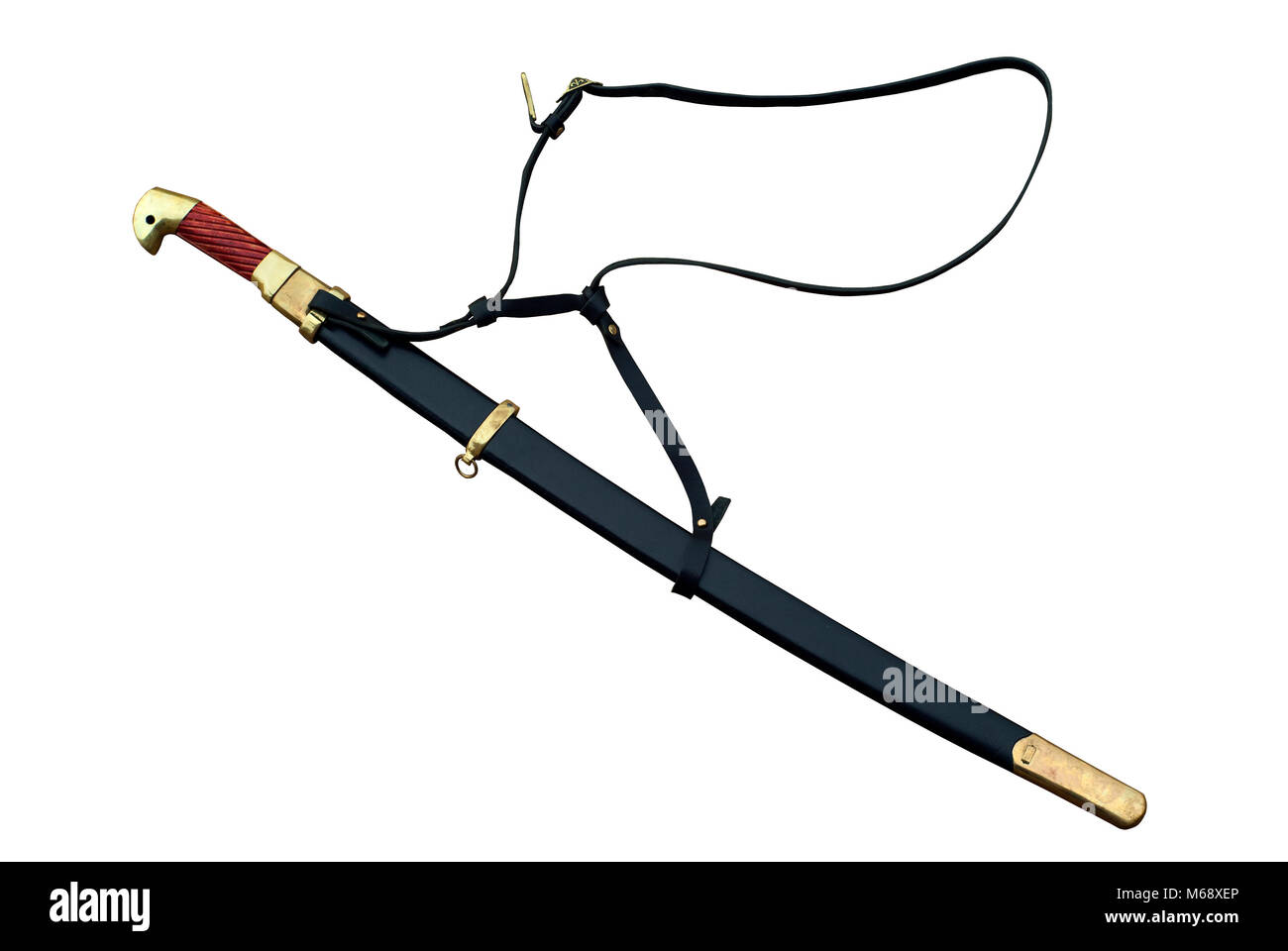 cossack shashka in scabbard, isolated on white backround - Stock Image