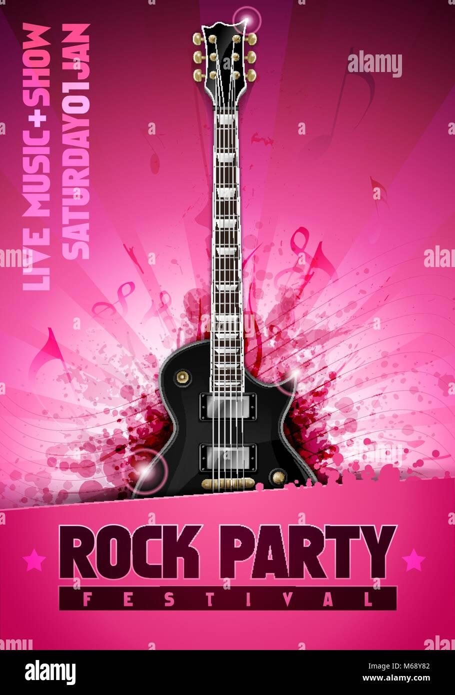 vector illustration pink rock festival party flyer design template