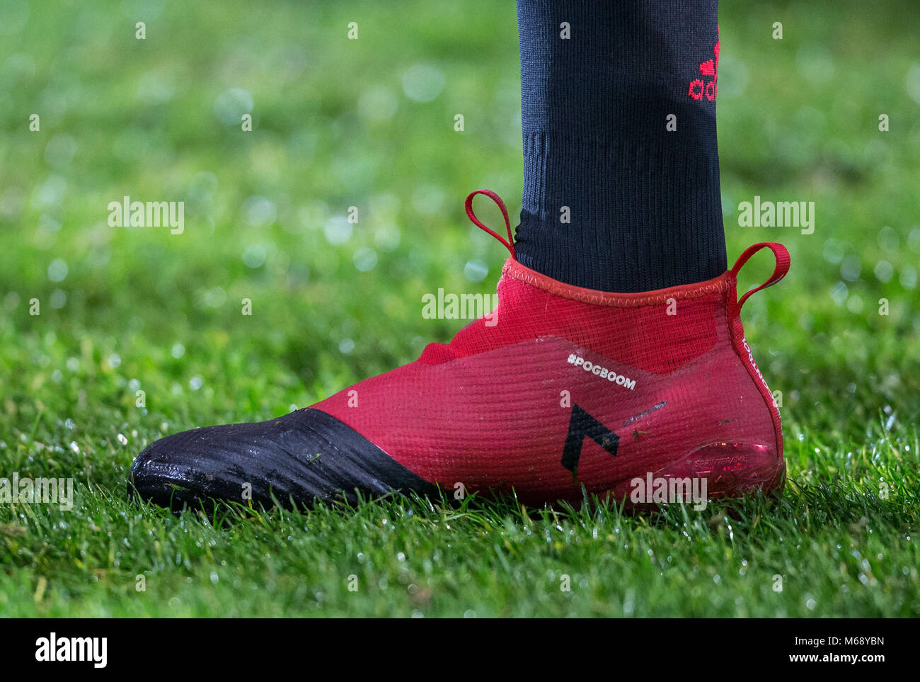 0dae9175058c Paul Pogba of Manchester United personalised adidas football boot  displaying pogboom before the EPL - Premier League match between West  Bromwich Albio