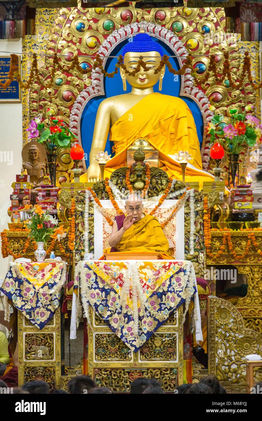 Dharamsala, India - June 6, 2017: His Holiness the 14 Dalai Lama Tenzin Gyatso gives teachings in his residence - Stock Image