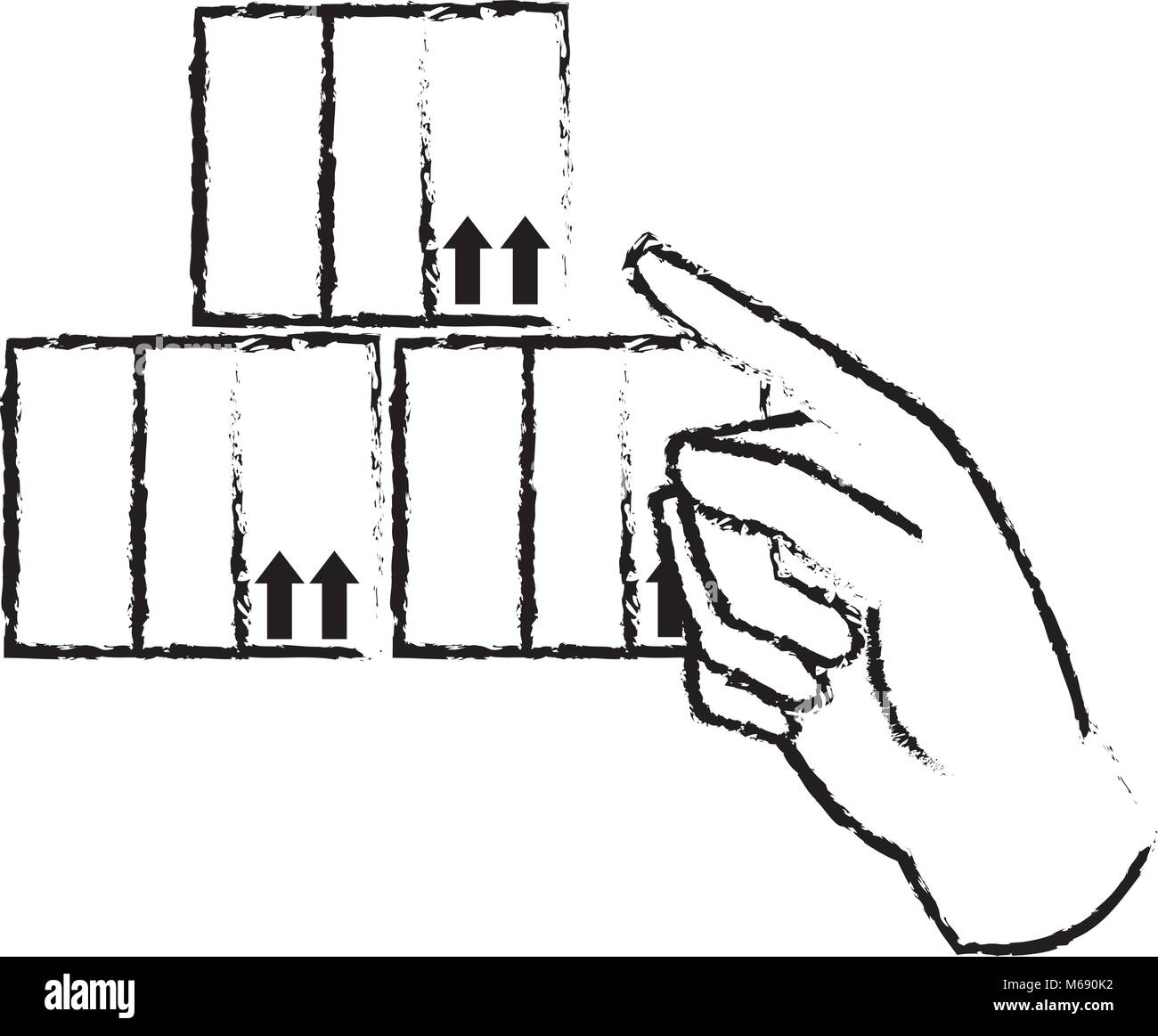 grunge hand pointing out the delivery packages service - Stock Vector