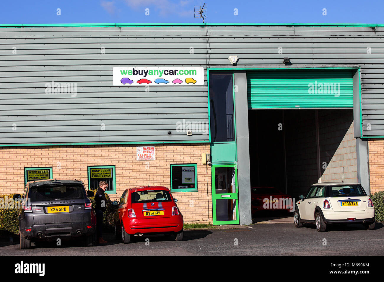 One of (7) images related to businesses in Battlefield Enterprise Park in Shrewsbury. We Buy Any Car .com at Battlefield - Stock Image