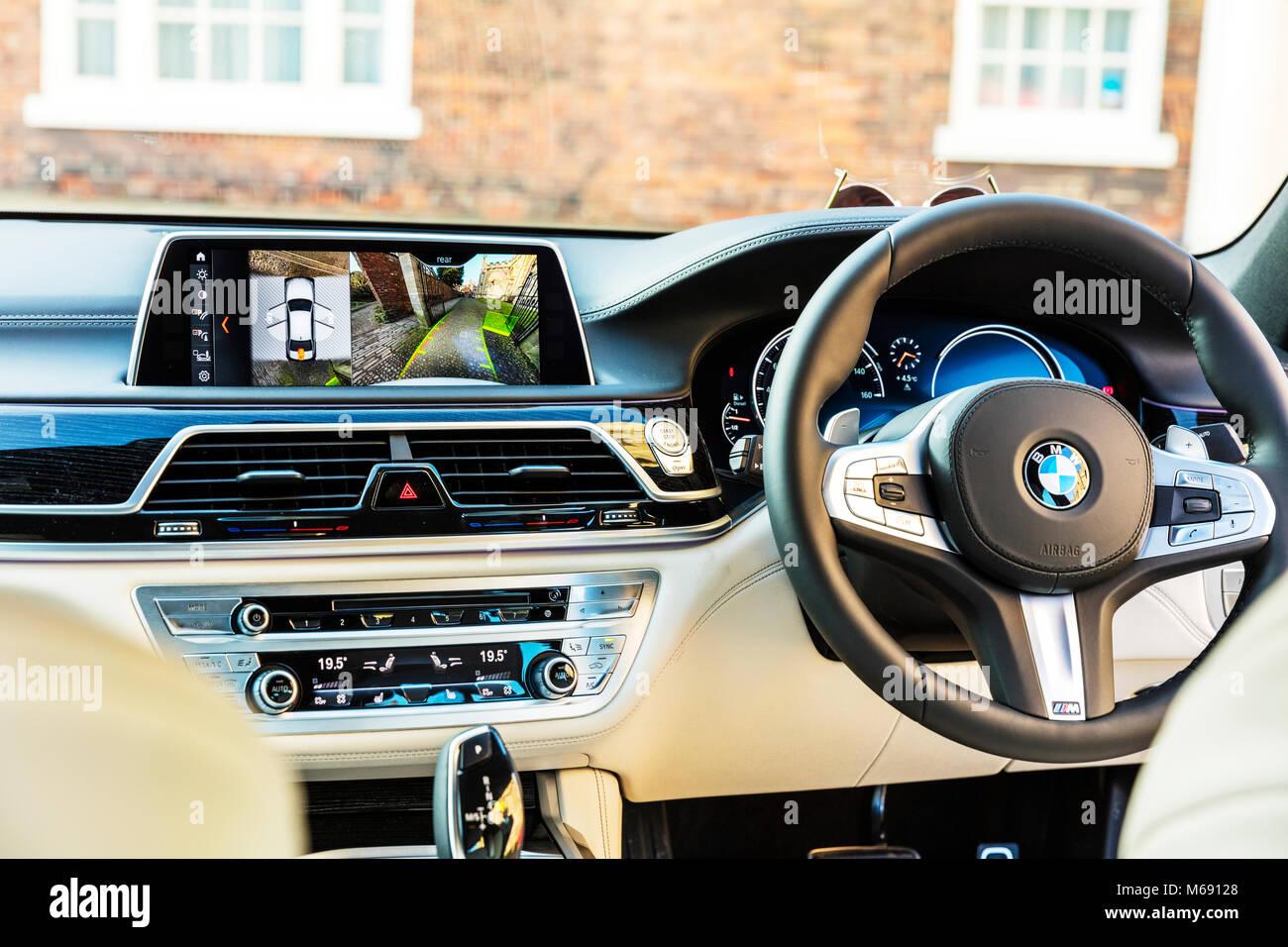Inside new BMW 7series car, BMW 7series car interior, BMW 7series car dashboard, BMW 7series car steering wheel, - Stock Image