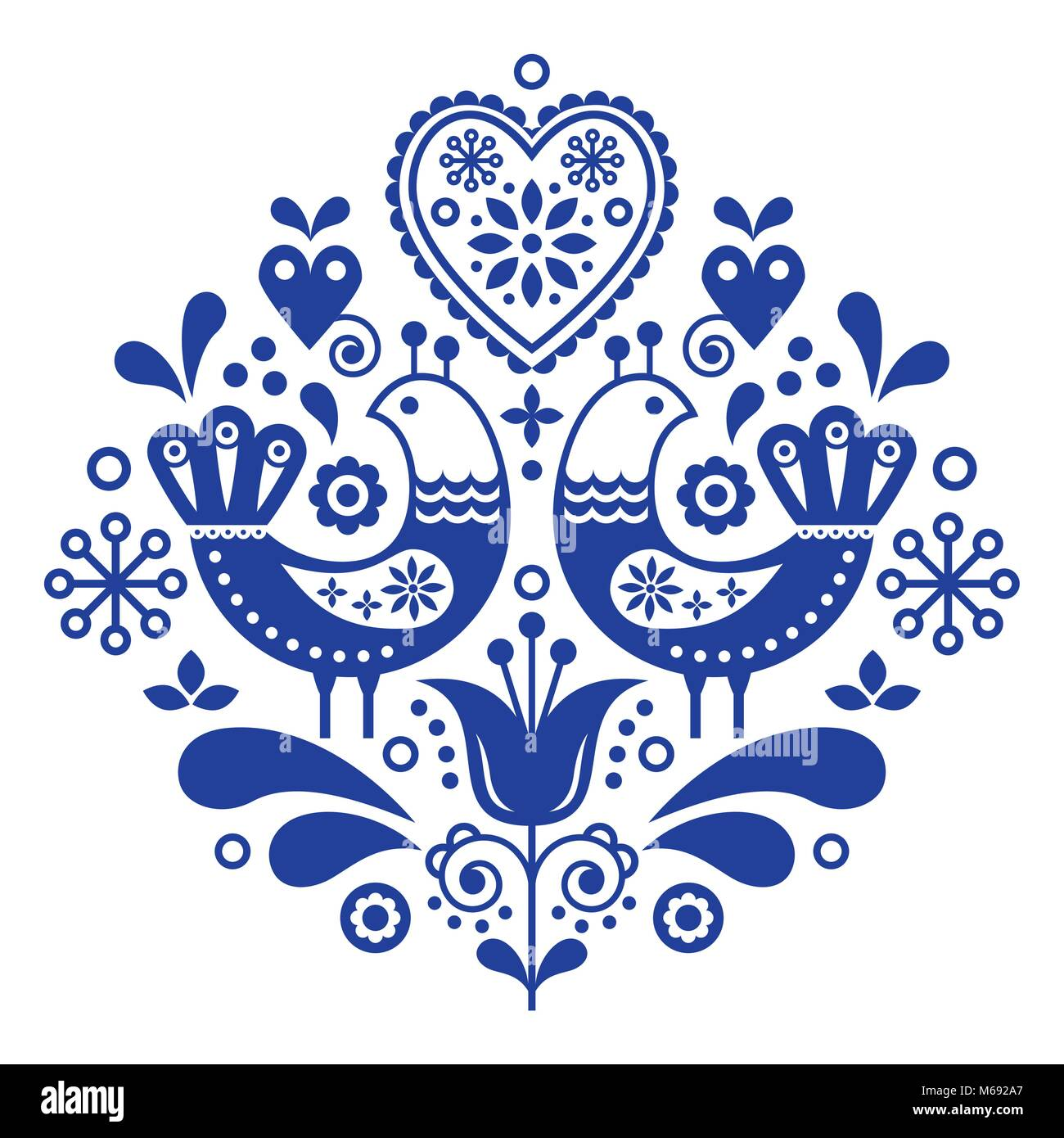 Scandinavian folk art pattern with birds and flowers, Nordic floral design, retro background in navy blue - Stock Image