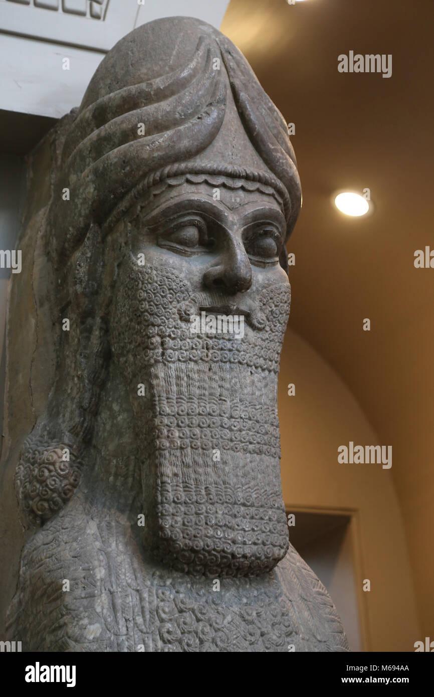 Human-headed winged lion (lamassu). 883-859 BC. Neo-Assyrian. Reign of Ashurnasirpal. Nimrud (ancient Kalhu). British - Stock Image