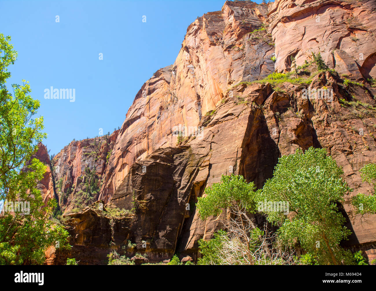 Creases and crevices on cliff side of mountain. Stock Photo