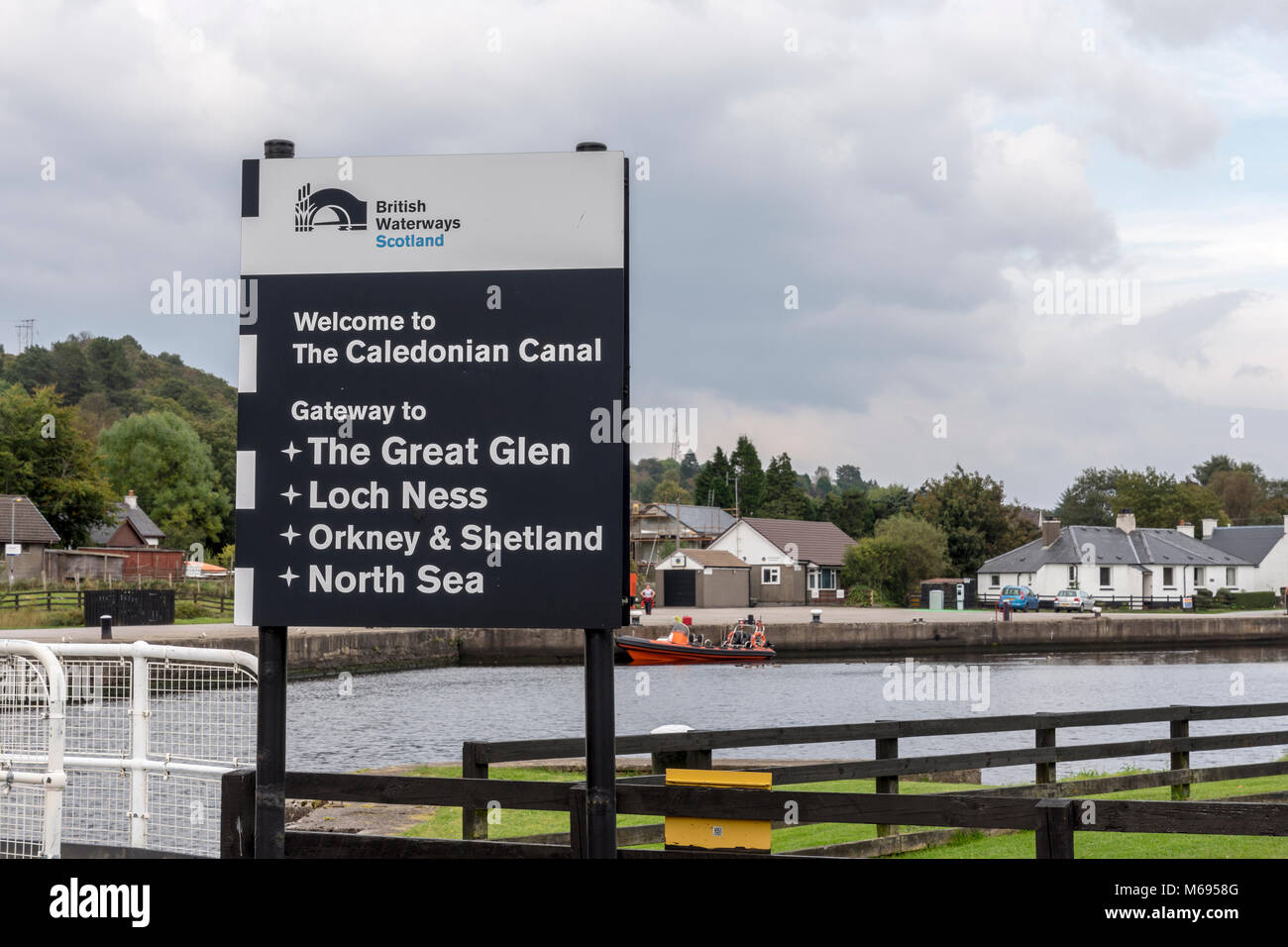 British Waterways Scotland the sign for the Caledonian Canal gateway to the Great Glen Loch Ness Orkney and Shetland - Stock Image