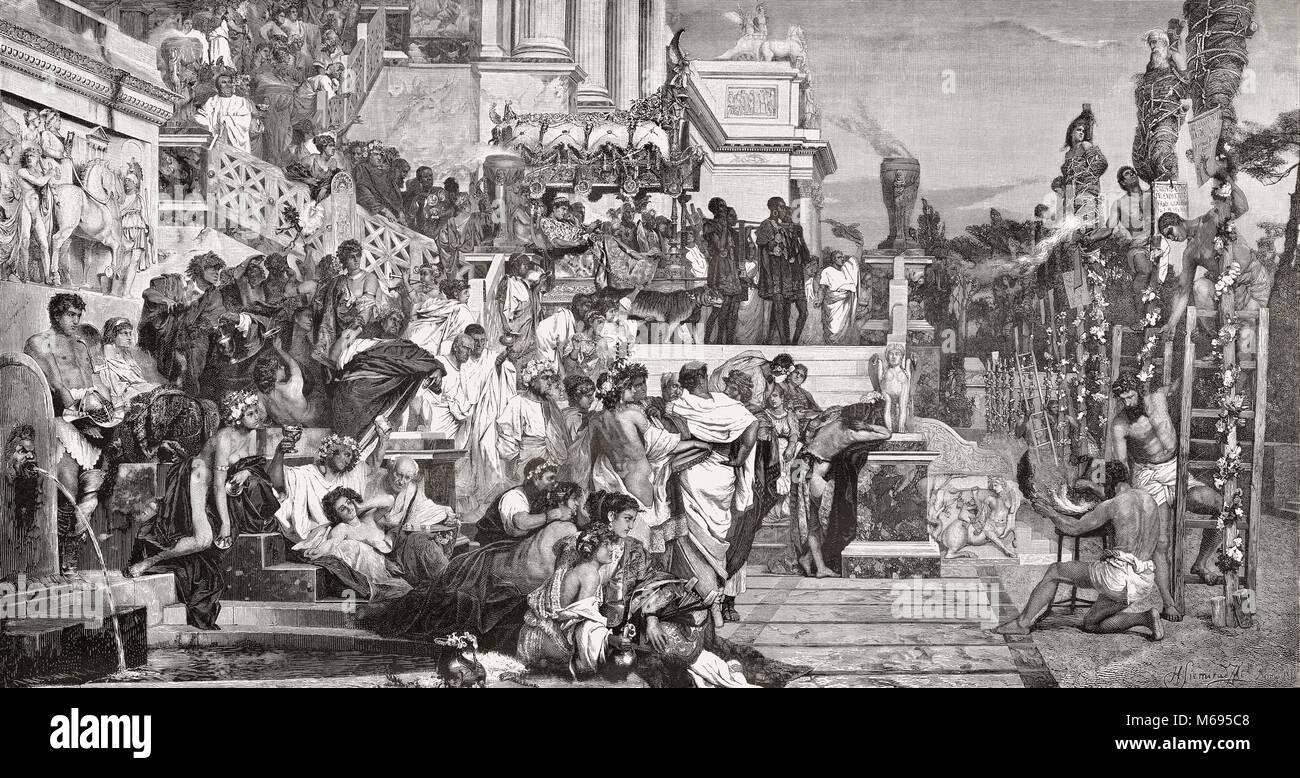 The Persecution of Christians in the Roman Empire by Roman Emperor Nero Claudius Caesar, Rome, 64 AD - Stock Image