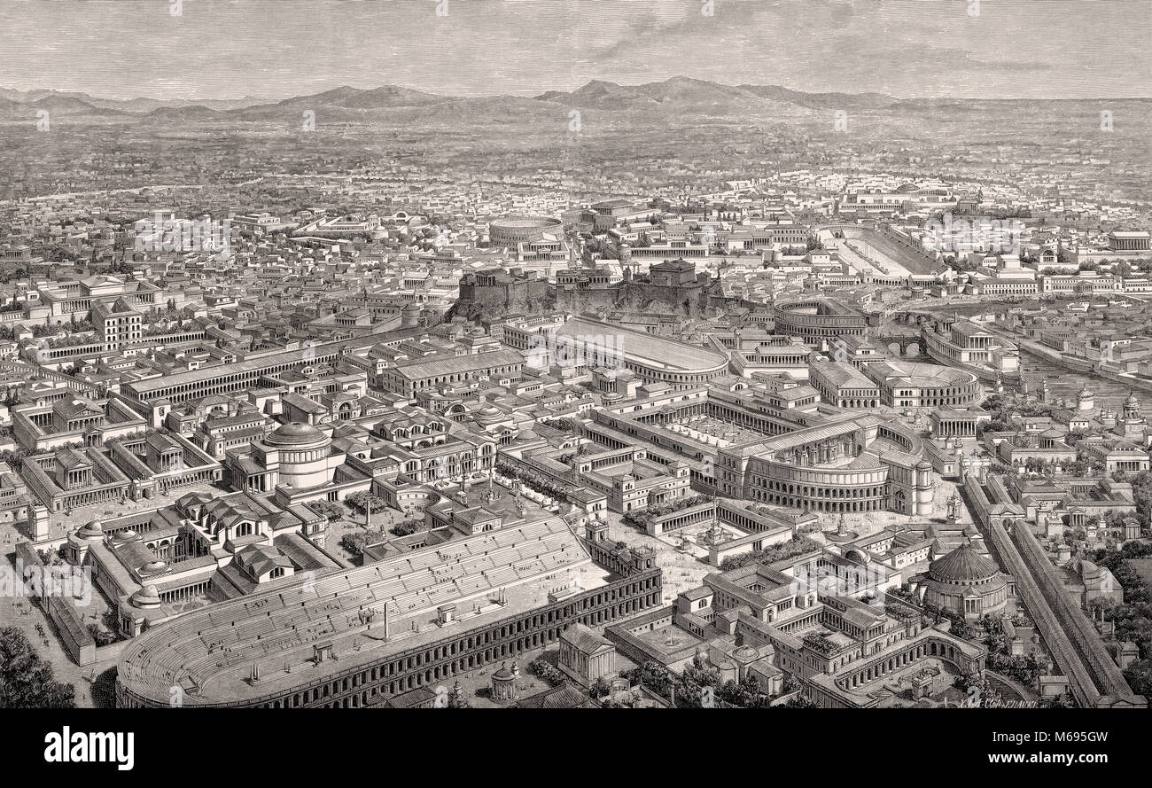 Reconstruction of the cityscape of Rome, 3rd century Stock Photo