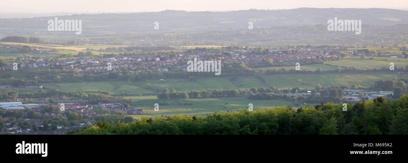 Panorama from the West Pennine Moors of Blackrod, Bolton, Greater Manchester showing the village sitting amongst - Stock Image