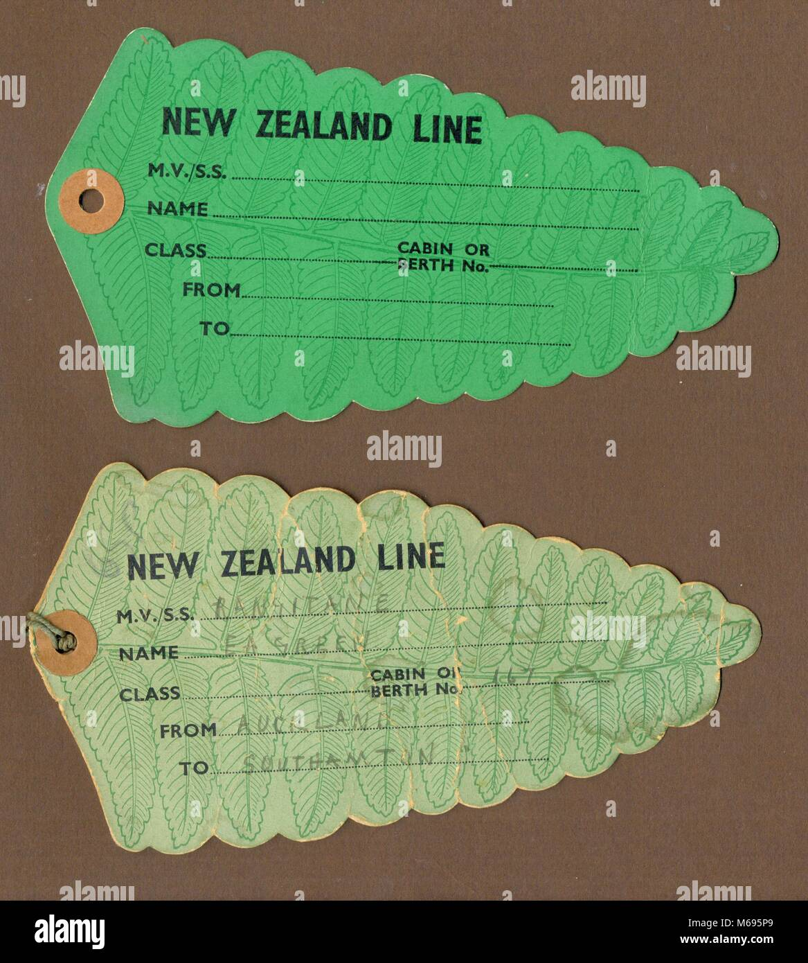 Tie on luggage labels for The New Zealand Shipping Co. ltd 1932 - Stock Image