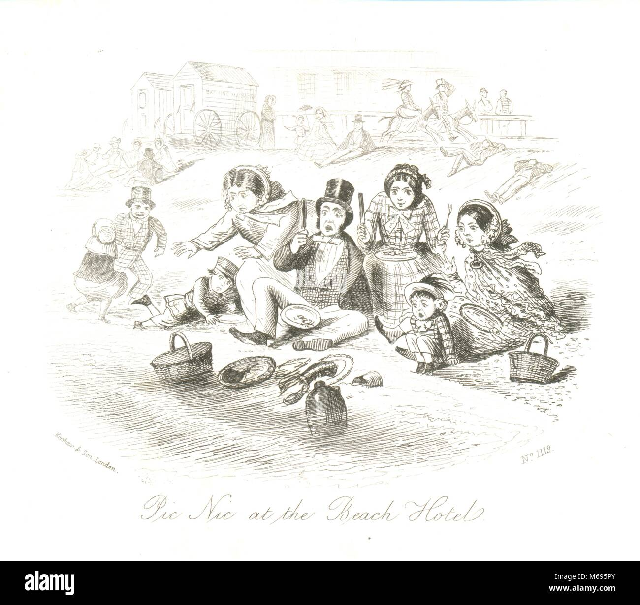 Pictorial writing paper Pic Nic at the Beach Hotel c. 1865 - Stock Image