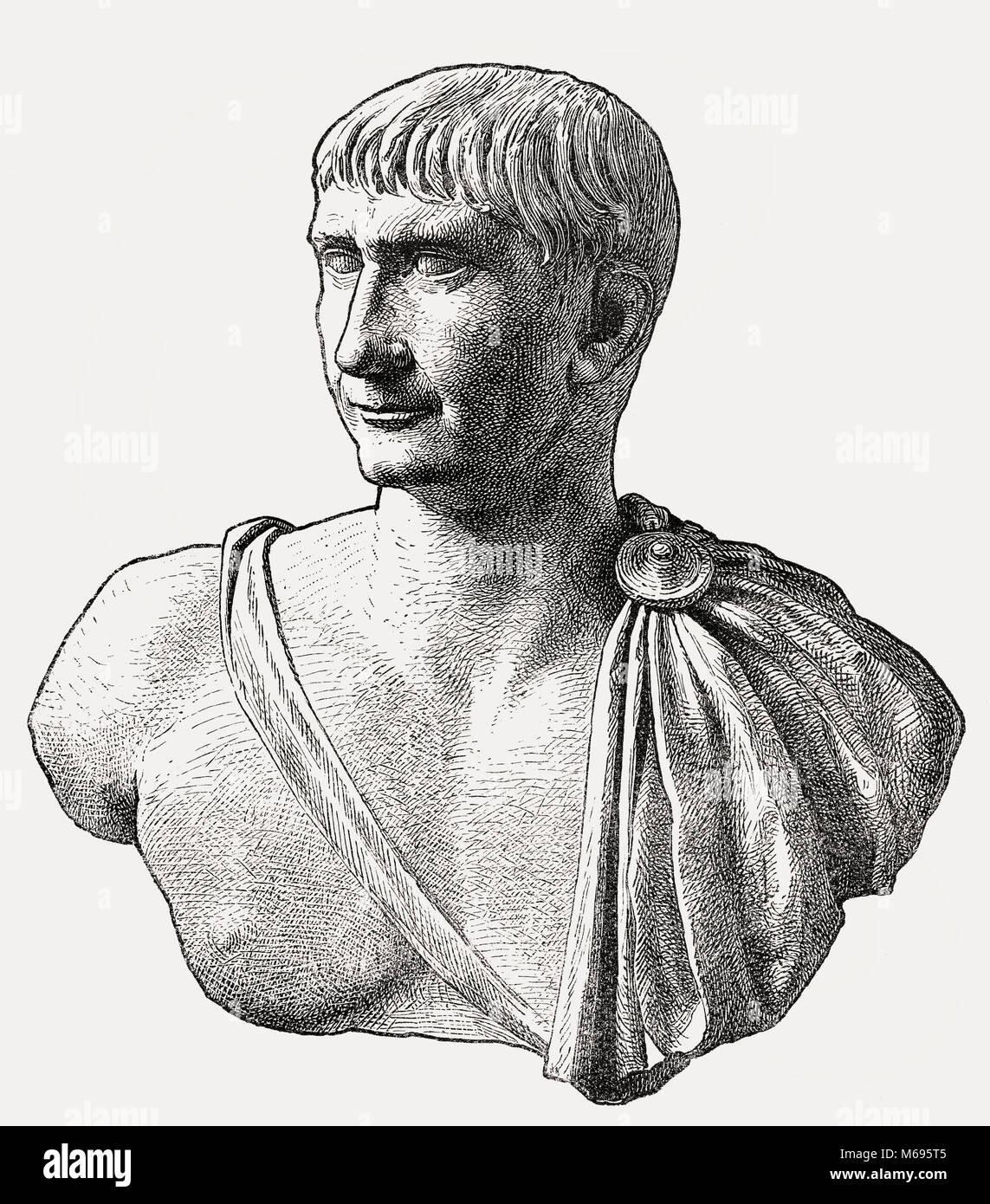 Trajan, Marcus Ulpius Traianus, 53 - 117, Roman emperor from 98 until 117 - Stock Image