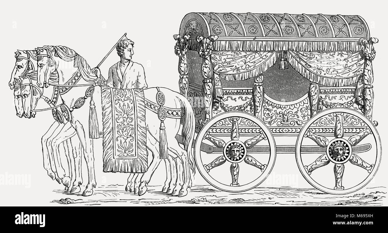 Ancient Roman stagecoach - Stock Image