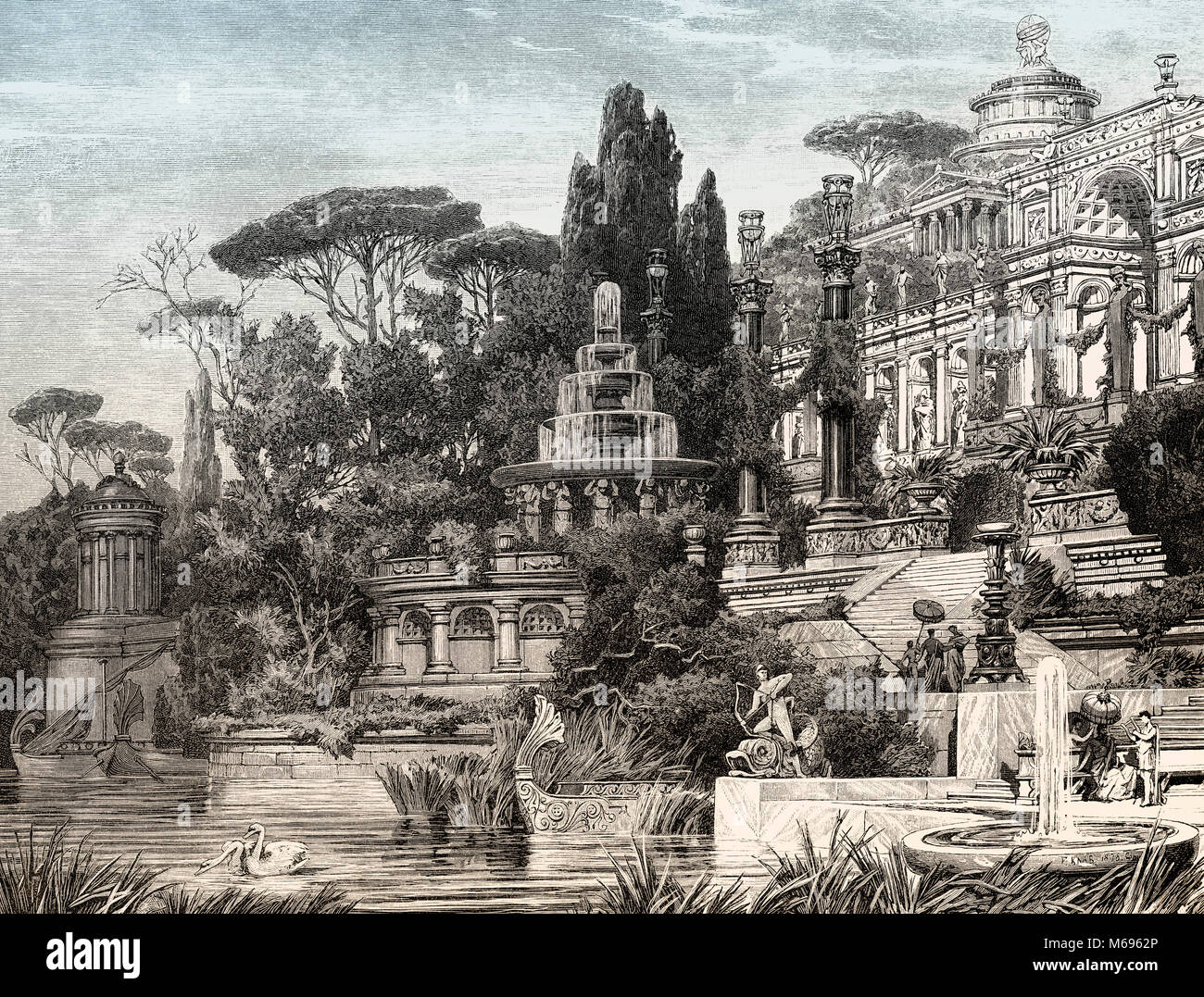 Luxurious villa in ancient Rome - Stock Image