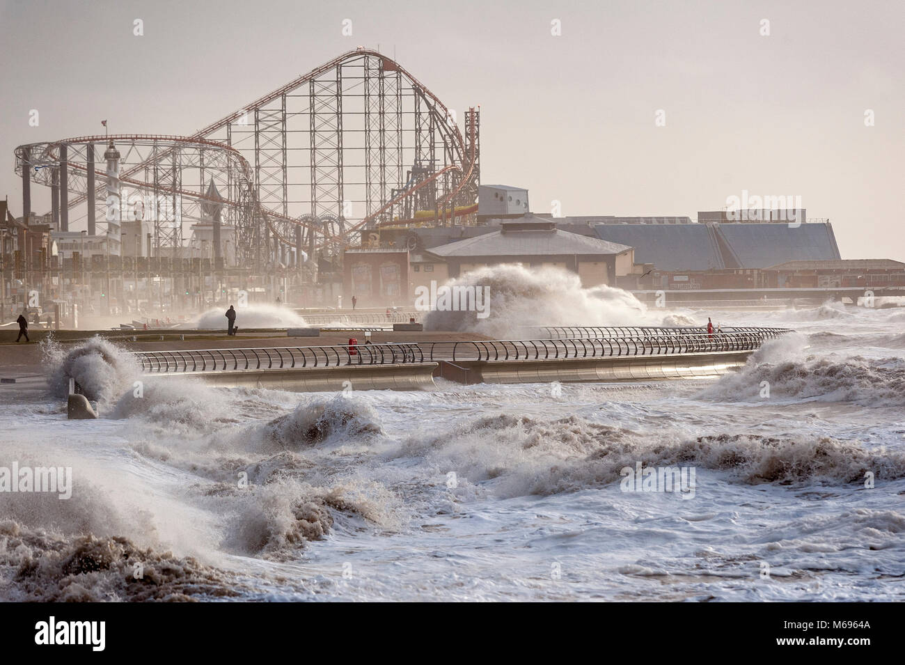 High seas on the North Shore at Blackpool Lancashire UK home of the famous Pleasure Beach - Stock Image