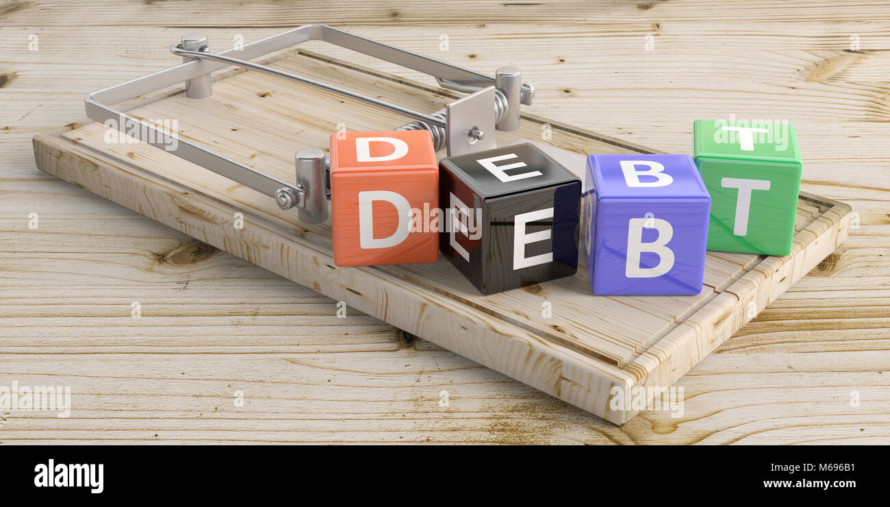 Word debt letters on colorful cubes and a mouse trap, wooden floor background. 3d illustration - Stock Image