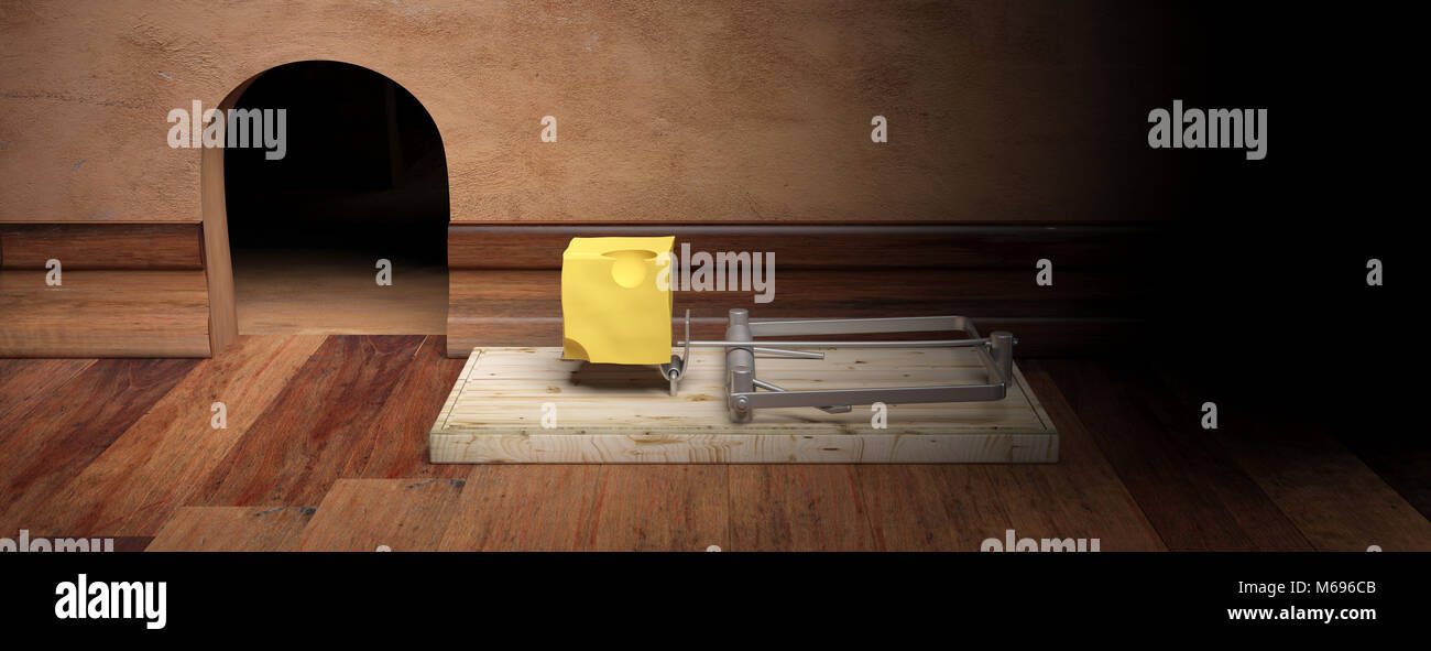 Wooden mouse trap with bait cheese, mouse hole and wooden floor background, banner. 3d illustration - Stock Image