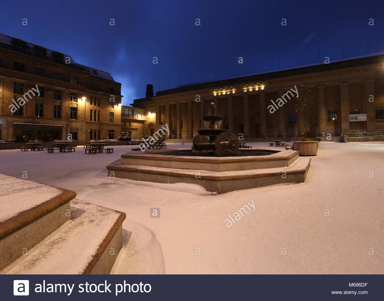 Caird Hall and fountains City Square Dundee Scotland  March 2018 - Stock Image