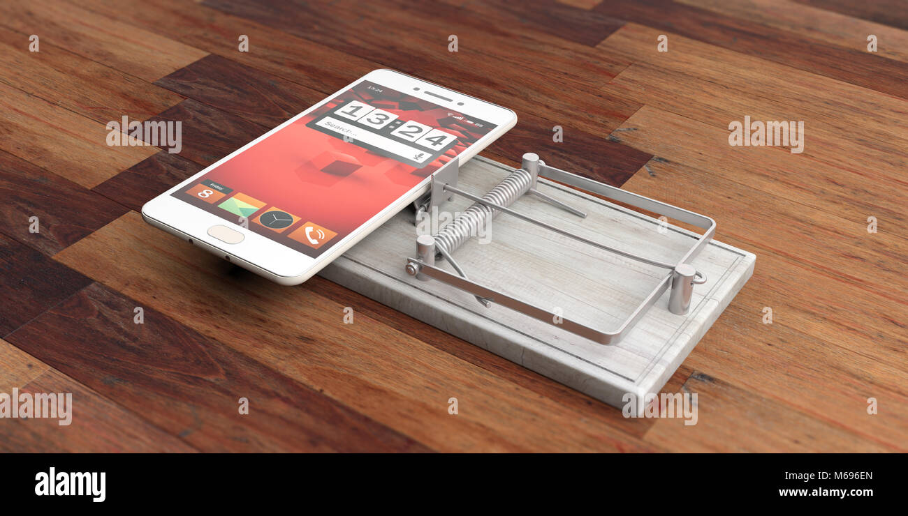 Smartphone addiction. Mobile phone on a mouse trap isolated on wooden background. 3d illustration - Stock Image