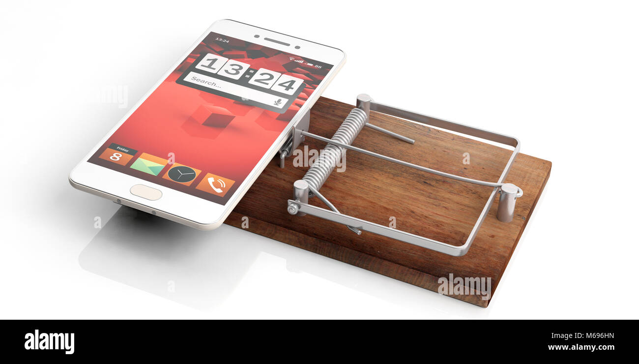 Smartphone addiction. Mobile phone on a mouse trap isolated on white background. 3d illustration - Stock Image