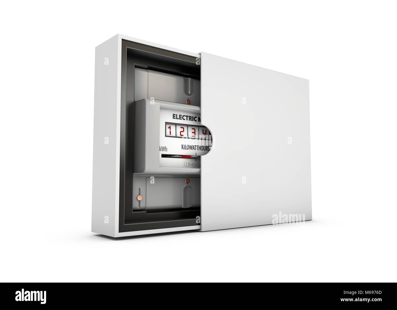 Electric meter in the box, isolated on white background 3d Illustration. - Stock Image