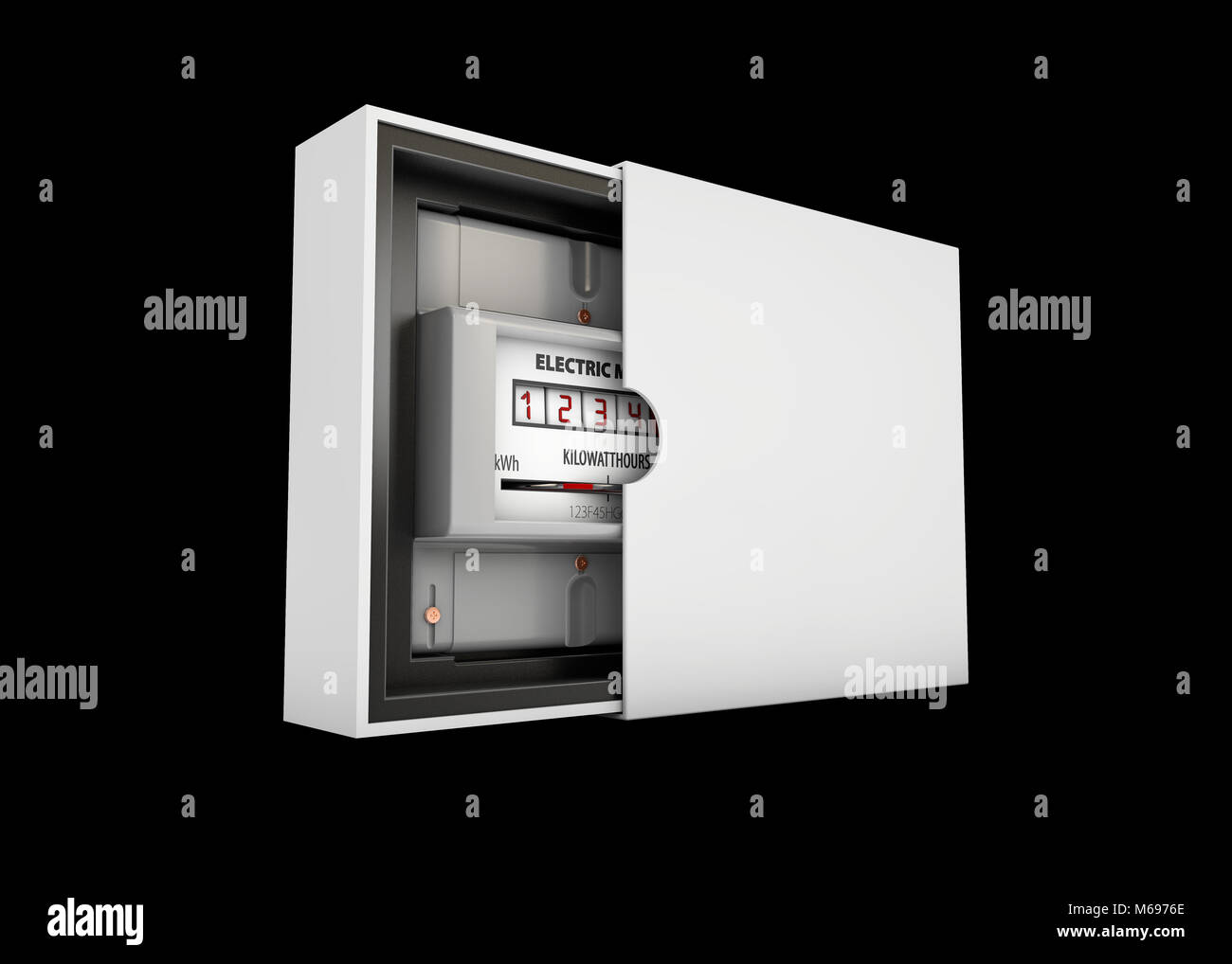 3d Illustration of electric meter in the box, isolated on black background. - Stock Image