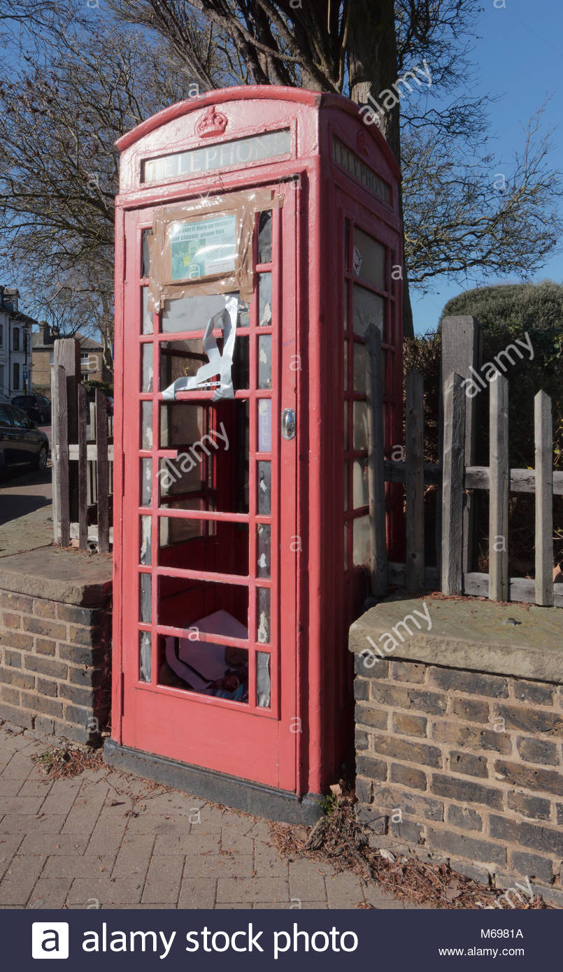 A vandalised K6 red telephone box on Alexandra Road Southend-On-Sea. The photograph was taken in February 2018. - Stock Image