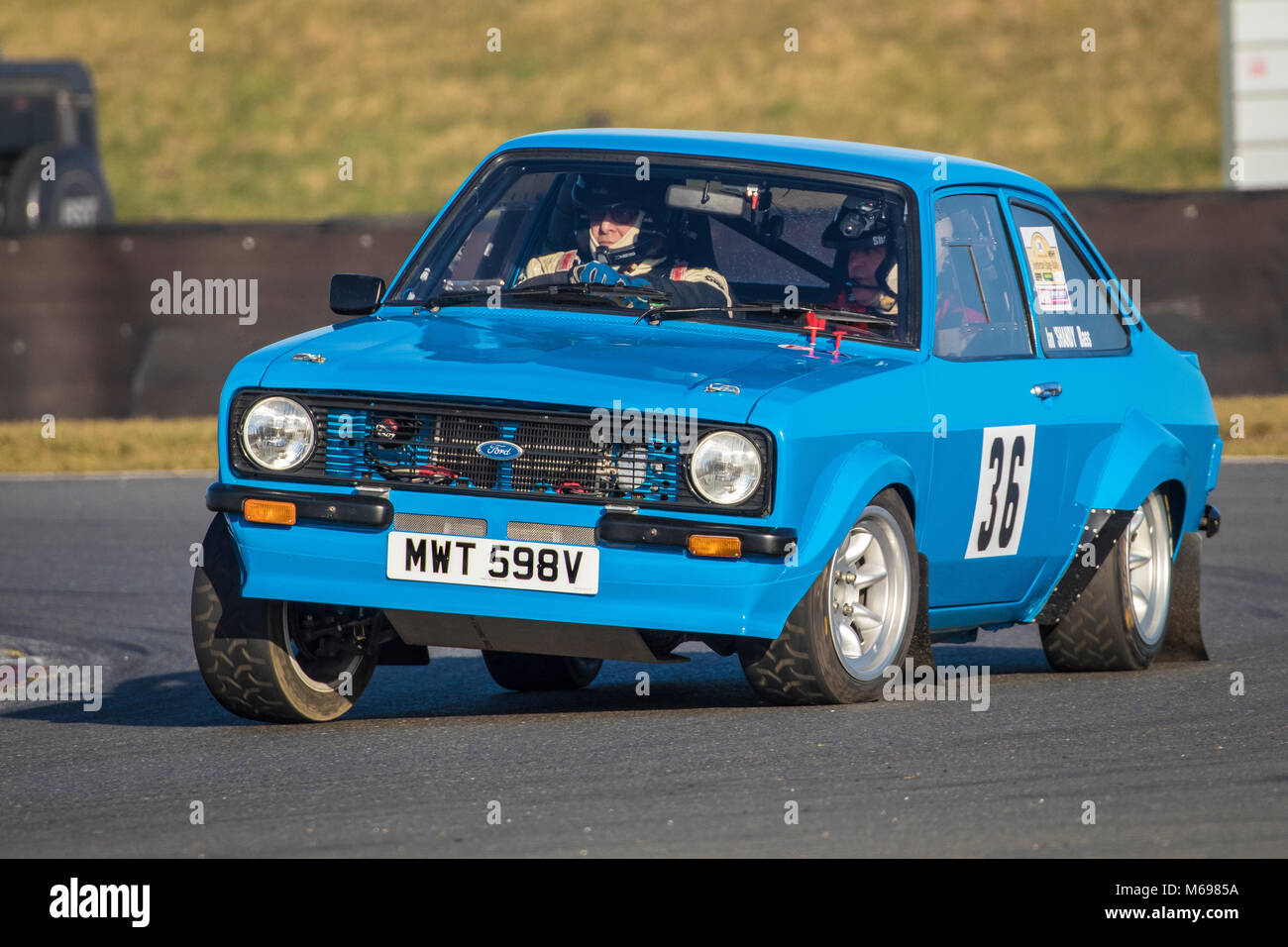 Stuart Ranby and Ian Bass in the Ford Escort at the Motorsport News 2018 Snetterton Stage Rally, Norfolk, UK. Stock Photo