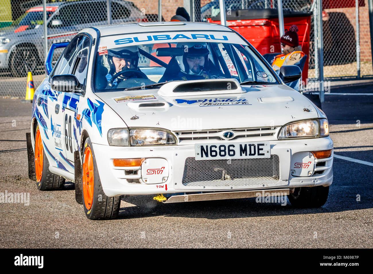 Shaun Weston and Dean Mevo in the Subaru Impreza in the paddock at the 2018 Motorsport News Snetterton Stage Rally, - Stock Image