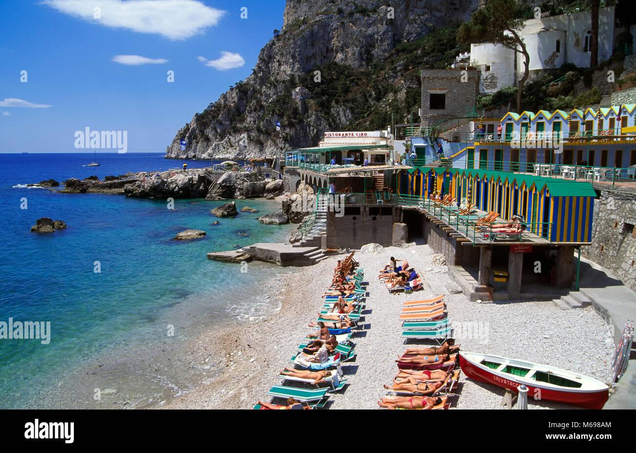 Marina Piccola beach, Capri island, Italy, Europe - Stock Image