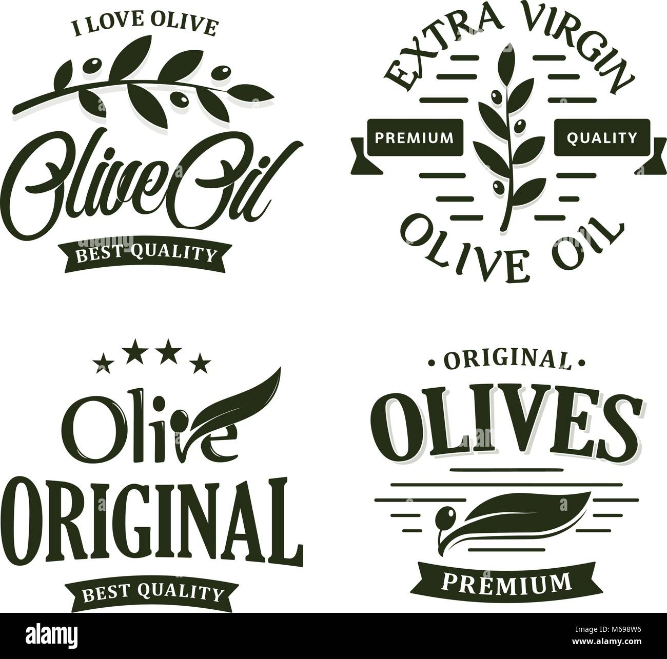 Olive oil premium quality. Olives branch vintage label collection. Extra virgin emblem set. Healthy products retro - Stock Vector